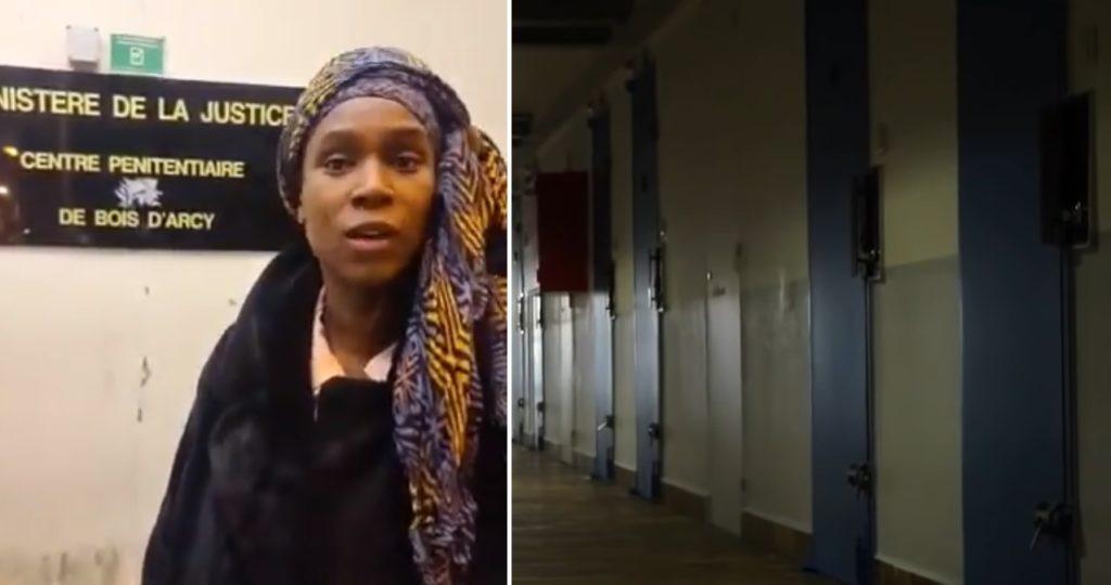 Assa Traoré devant le centre pénitiaire de Bois d'Arcy pour savoir où est son frère Bagui, malade et aux soins intensifs