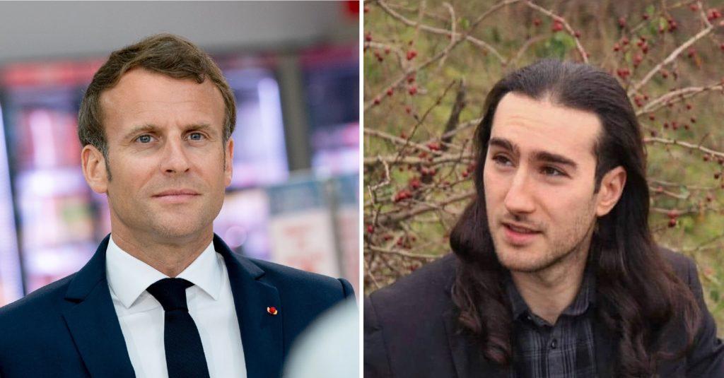 Le président de la République française et Damien Tarel, l'homme qui a giflé le Macron.