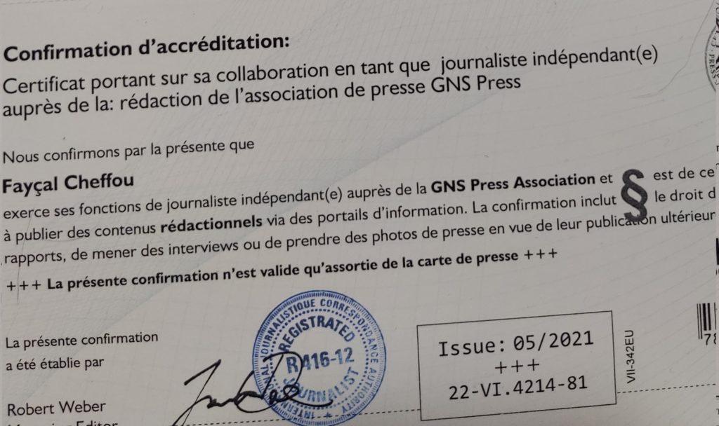Certificat d'accréditation journalistique de Fayçal Cheffou.