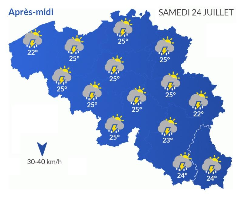Prévisions météorologique pour ce samedi 24 juillet.
