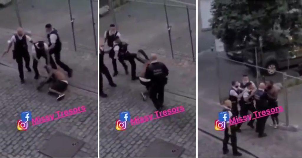 L'homme plaqué au sol par un policier, rue des Fleuristes à Bruxelles.