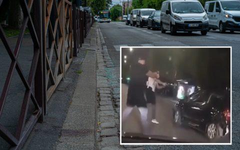 Sur les lieux du drame, boulevard Maxime Gorki, il reste une trace de sang (en bas, à gauche) qui témoigne de la violence de la fusillade policière.