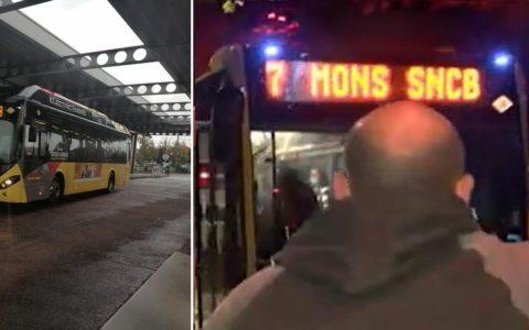 Bus de remplacement du train SNCB (Luttre et Mons, Belgique, octobre 2021)